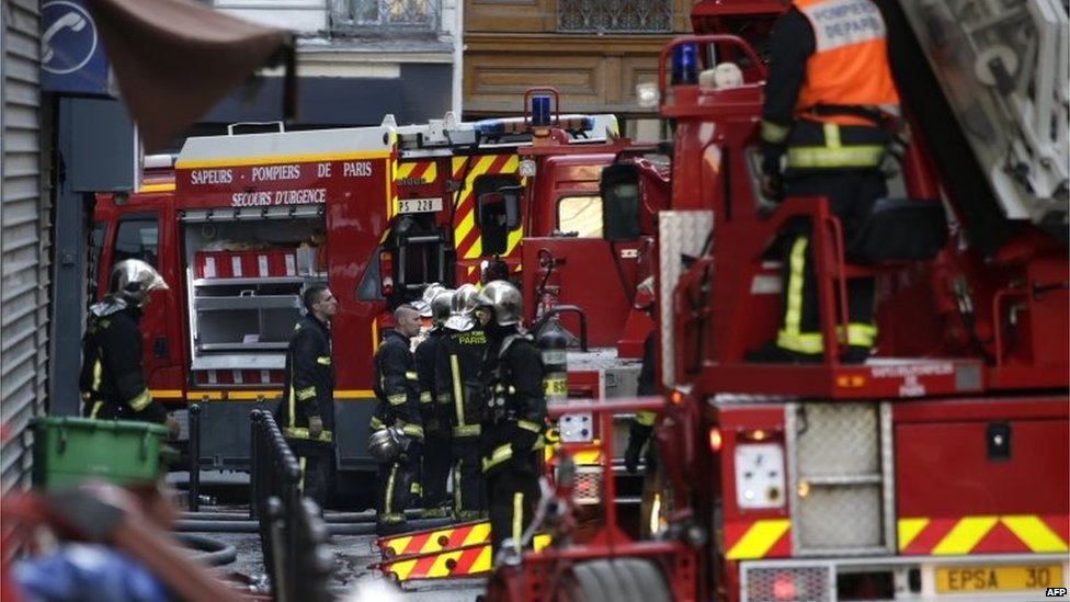 Firefighters at the scene of the blaze in Paris. Photo: 2 September 2015
