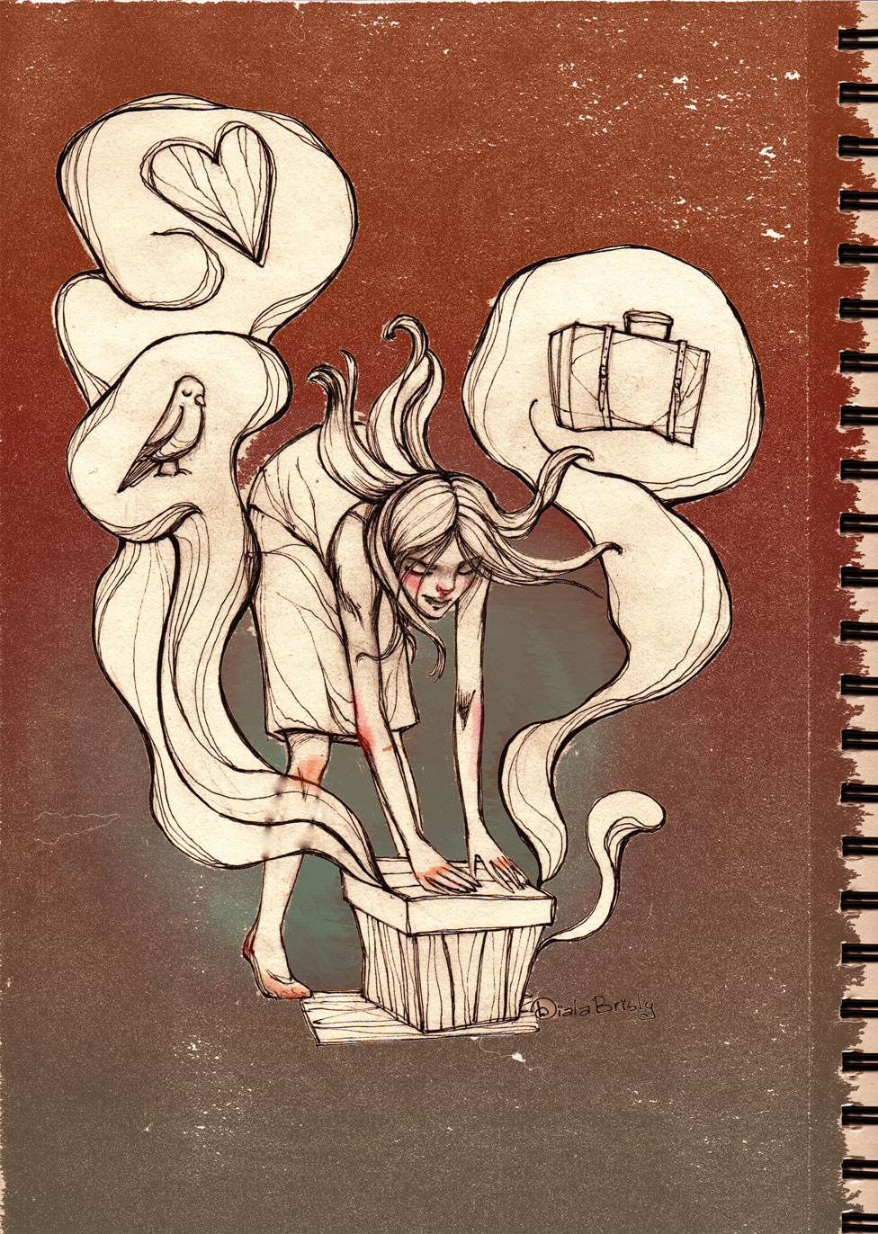 Woman with a box containing many memories