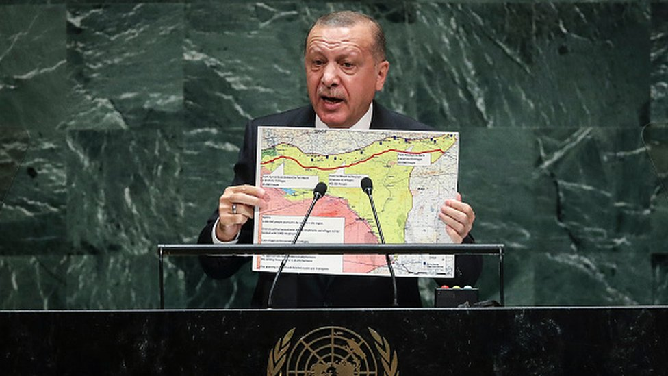 Turkey's President Recep Tayyip Erdogan, speaking at the UN General Assembly, held up a map of the proposed safe zone