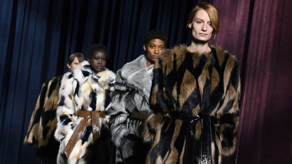 Models for Givenchy in fur coats