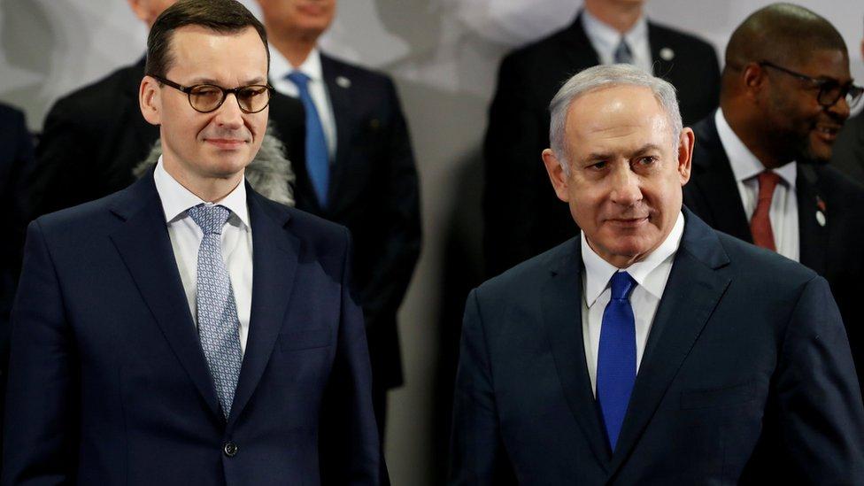 Premijeri Mateuš Moravijecki i Benjamin Netanjahu u Varšavi, februar 2019