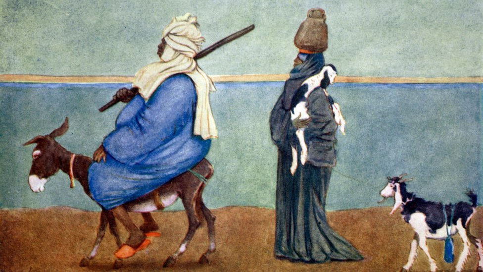 'A Nile Sky Line' (1908) by English illustrator Lance Thackeray, shows a fat Egyptian riding a small, frail donkey, and a poorer person walking behind