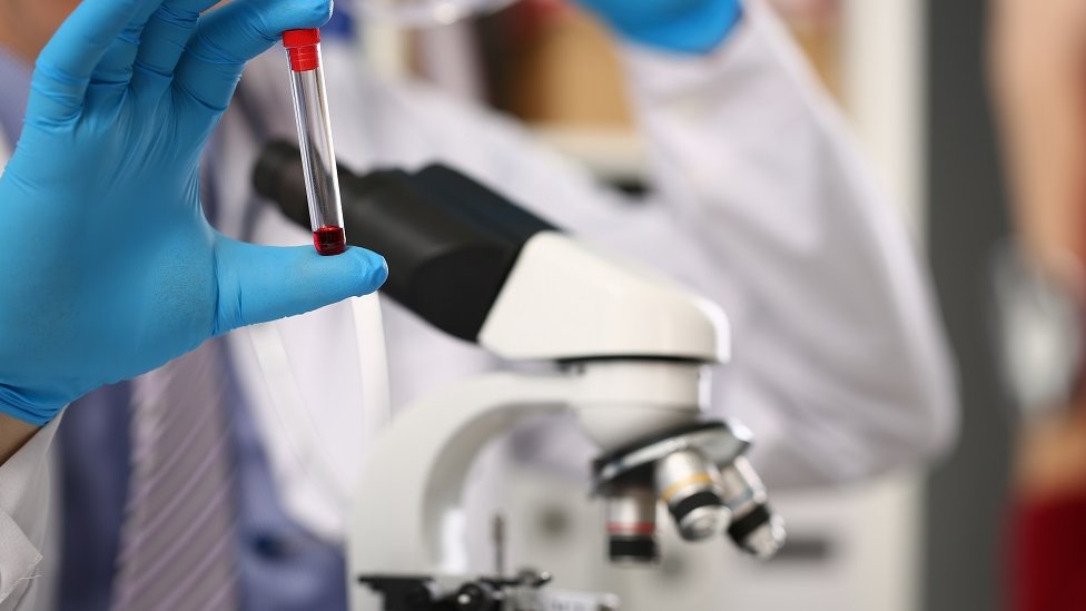 Hirurške rukavice koje drže epruvetu s malom dozom krvi.