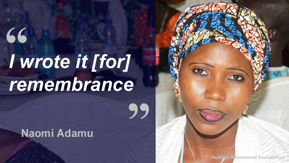"""Photo of Naomi Adamu and the quote: """"I write it [for] remembrance."""""""