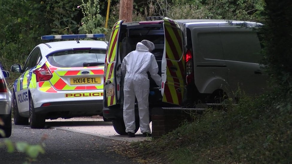 Police and forensics were still investigating the scene of the crime on Saturday