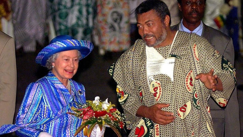 Queen Elizabeth and Jerry Rawlings during the Queen's state visit to the former British colony in 1999