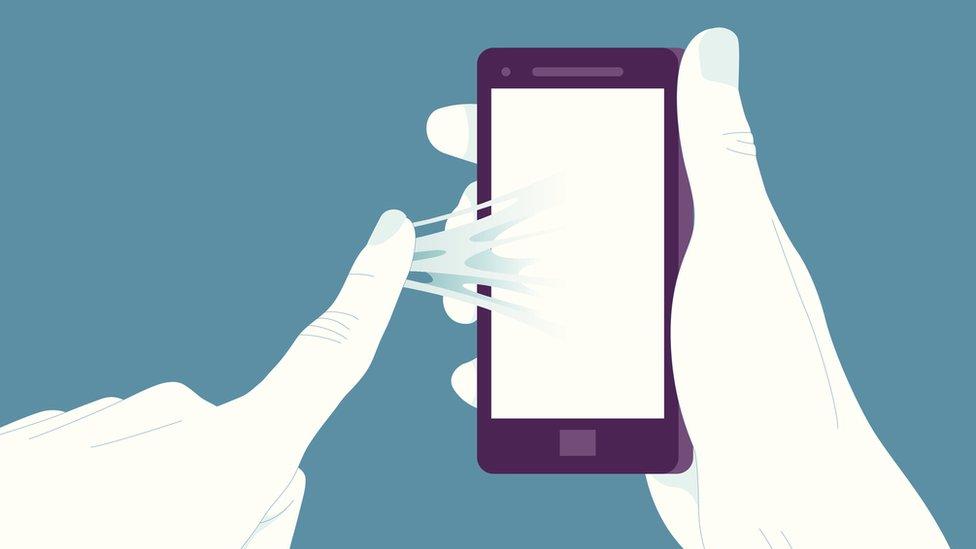 ilustración: pegado al celular