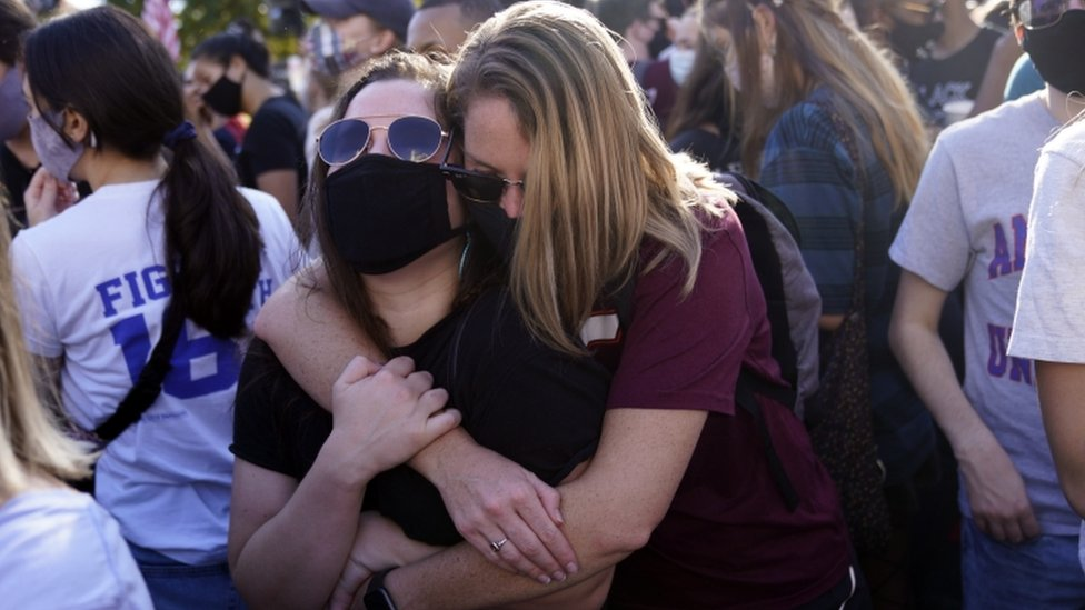 Two women embraced near the White House in Washington