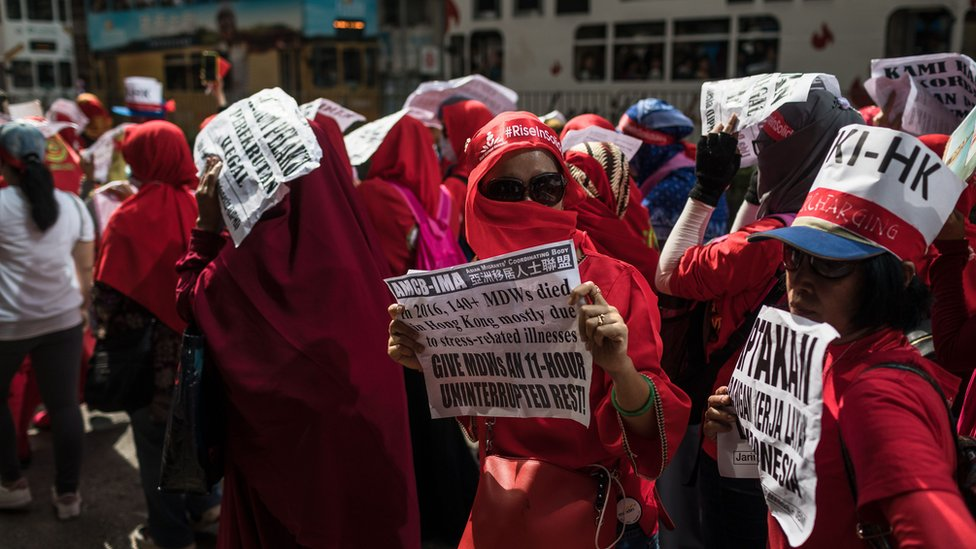 Indonesian migrant workers attend a May Day rally, also known as Labour Day, in Hong Kong on May 1, 2018.