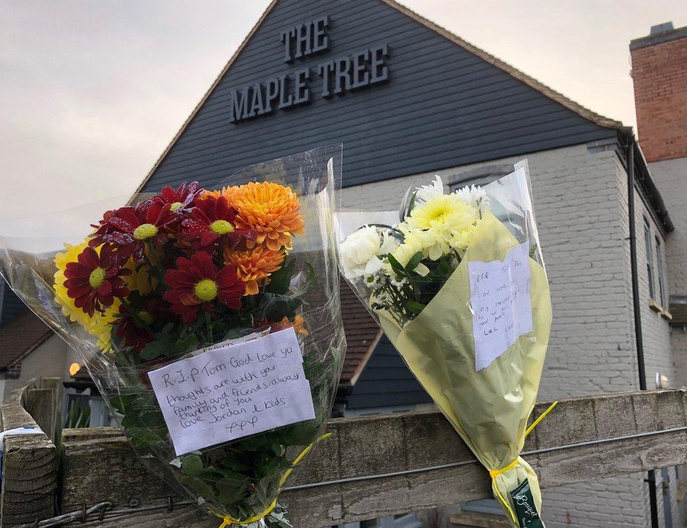 Floral tributes at Maple Tree pub, Doncaster