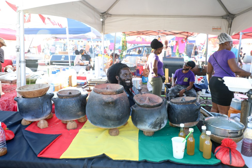 The coal-pots are still used at roadside stalls