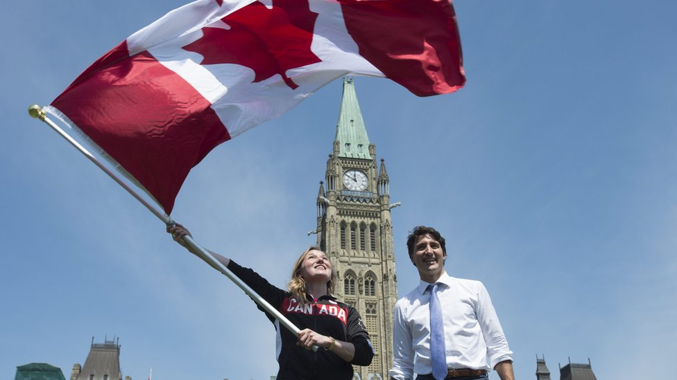 Justin Trudeau with Canadian flag