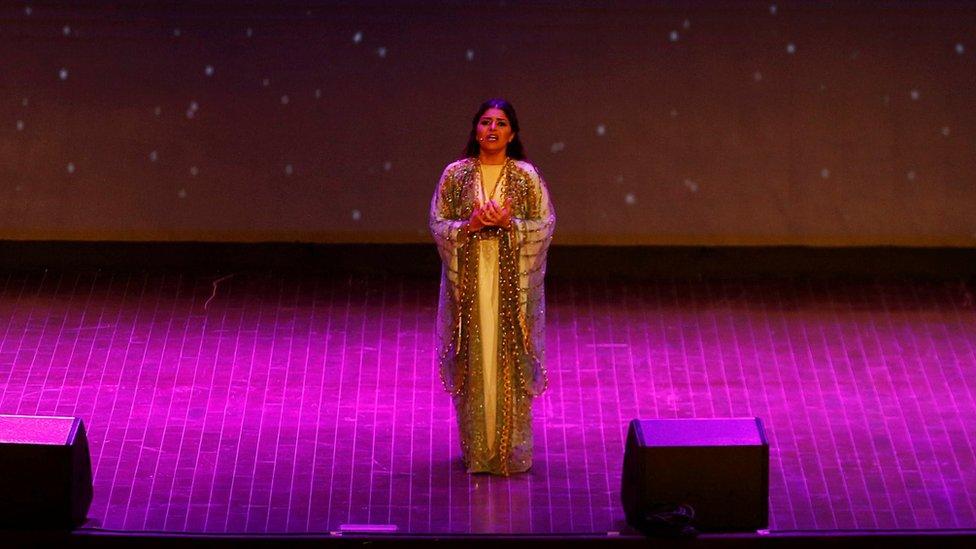 A woman participates in an opera performance at a university in Riyadh, Saudi Arabia February 24, 2018.