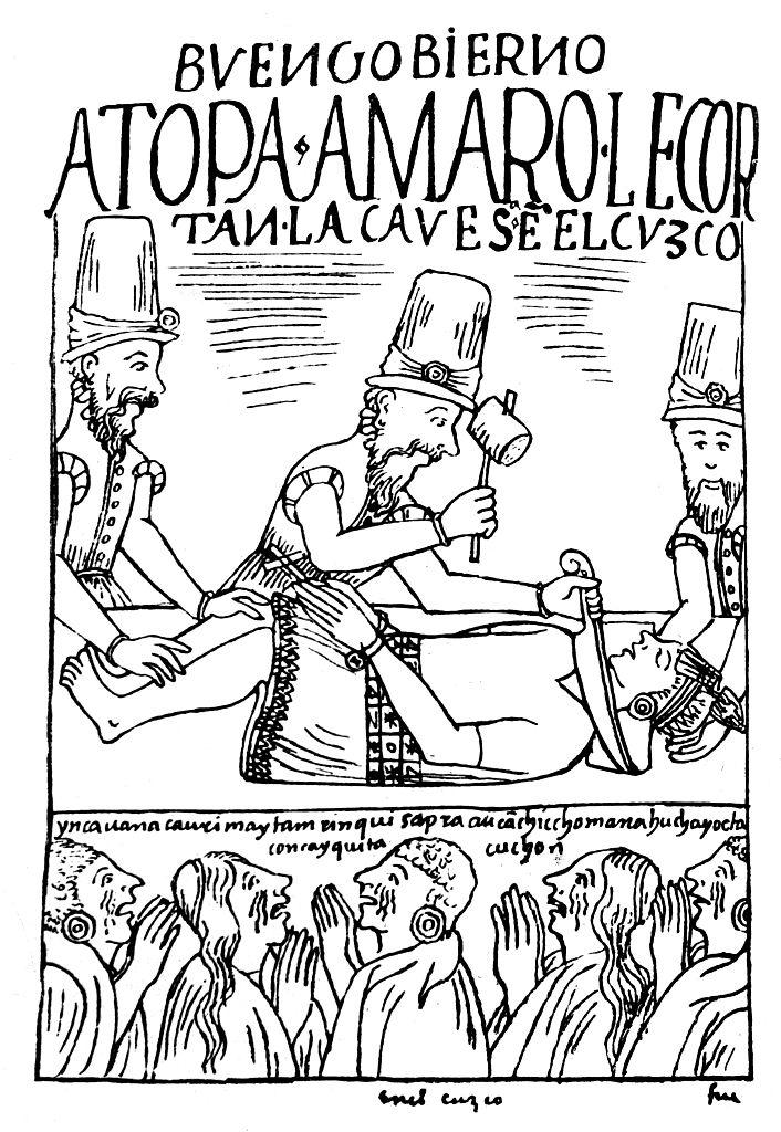 Dibujo del inca Atahualpa siendo asesinado por españoles
