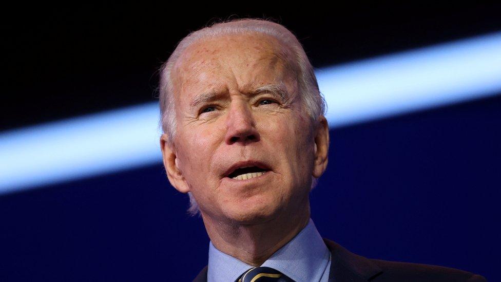 Primer plano de Joe Biden, presidente electo de EE.UU.