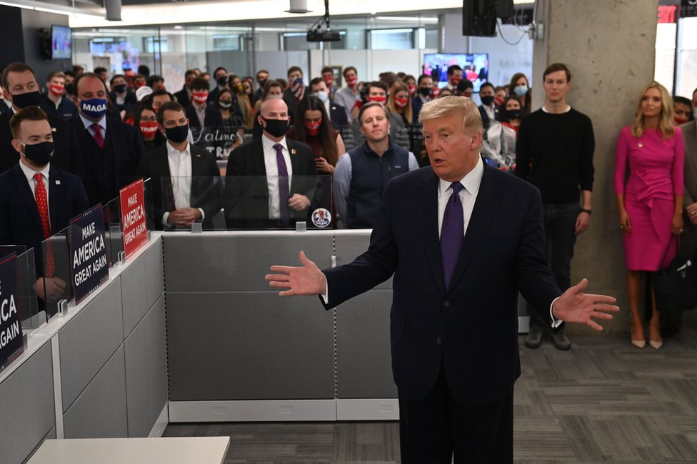 President Donald Trump speaks to staff at his campaign headquarters in Arlington, Virginia