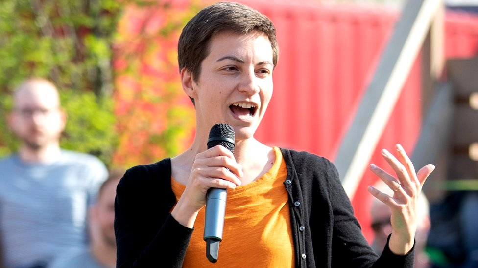 Ska Keller speaks during a campaign event for the European elections in Berlin, Germany, 24 May 2019
