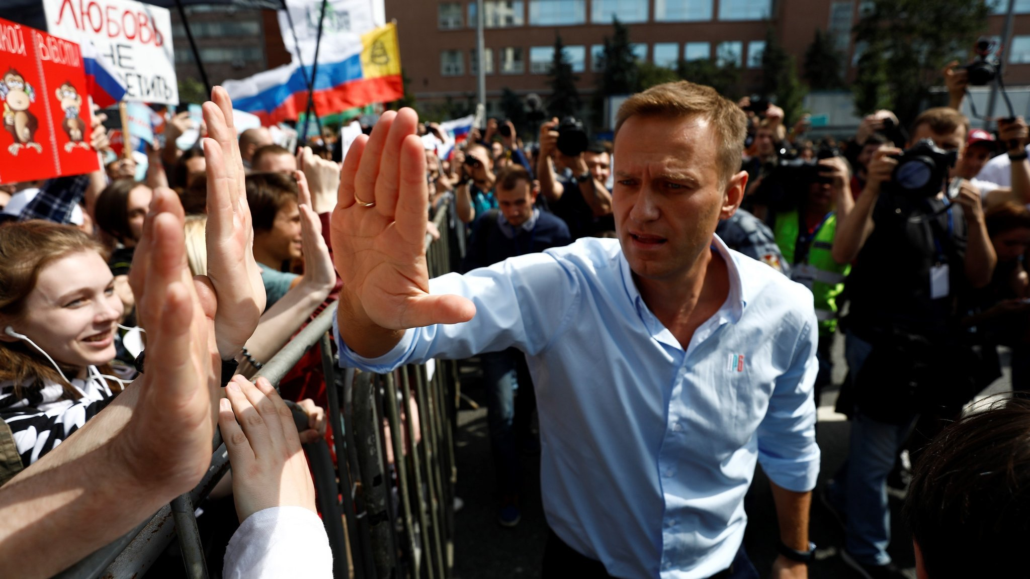 Alexei Navalny campaigning (file pic)