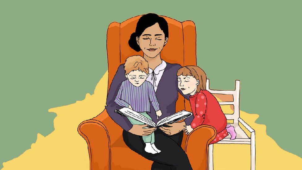 Graphic showing woman reading a story to two children