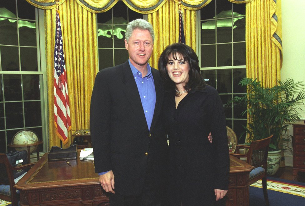 Photo of Bill Clinton with Monica Lewinsky at the Oval Office in 1997