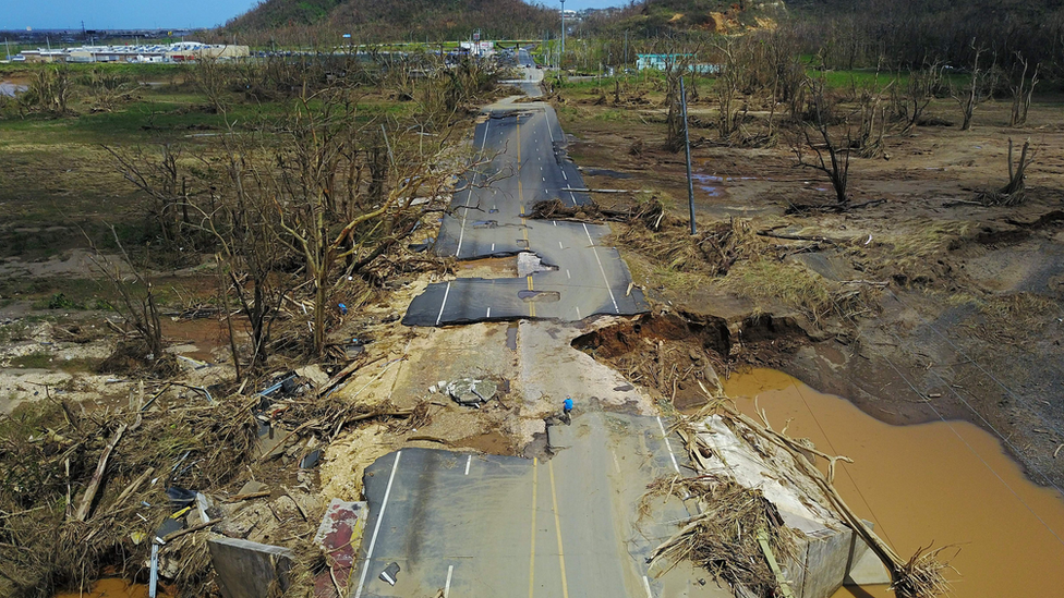destroyed road