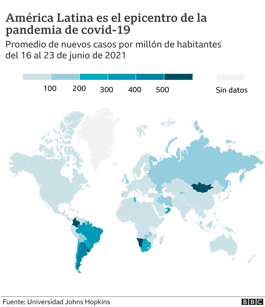 gráfico mapa mundial del número promedio de nuevos casos por millón de habitantes