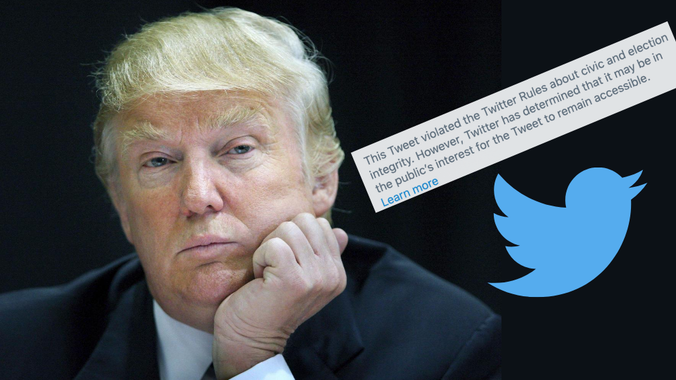 President Donald Trump with a Twitter logo and a screenshot of the warning message on his tweet