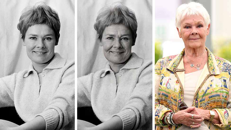 Composite image of Dame Judy Dench before the app, after it and what she looks like now