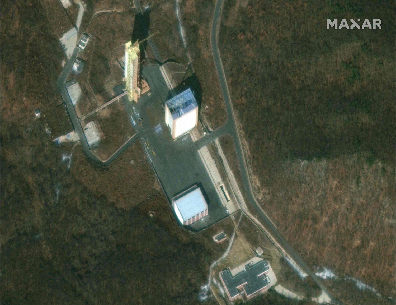 Foto aérea de centro de lanzamiento de satélites en Sohae, Corea del Norte