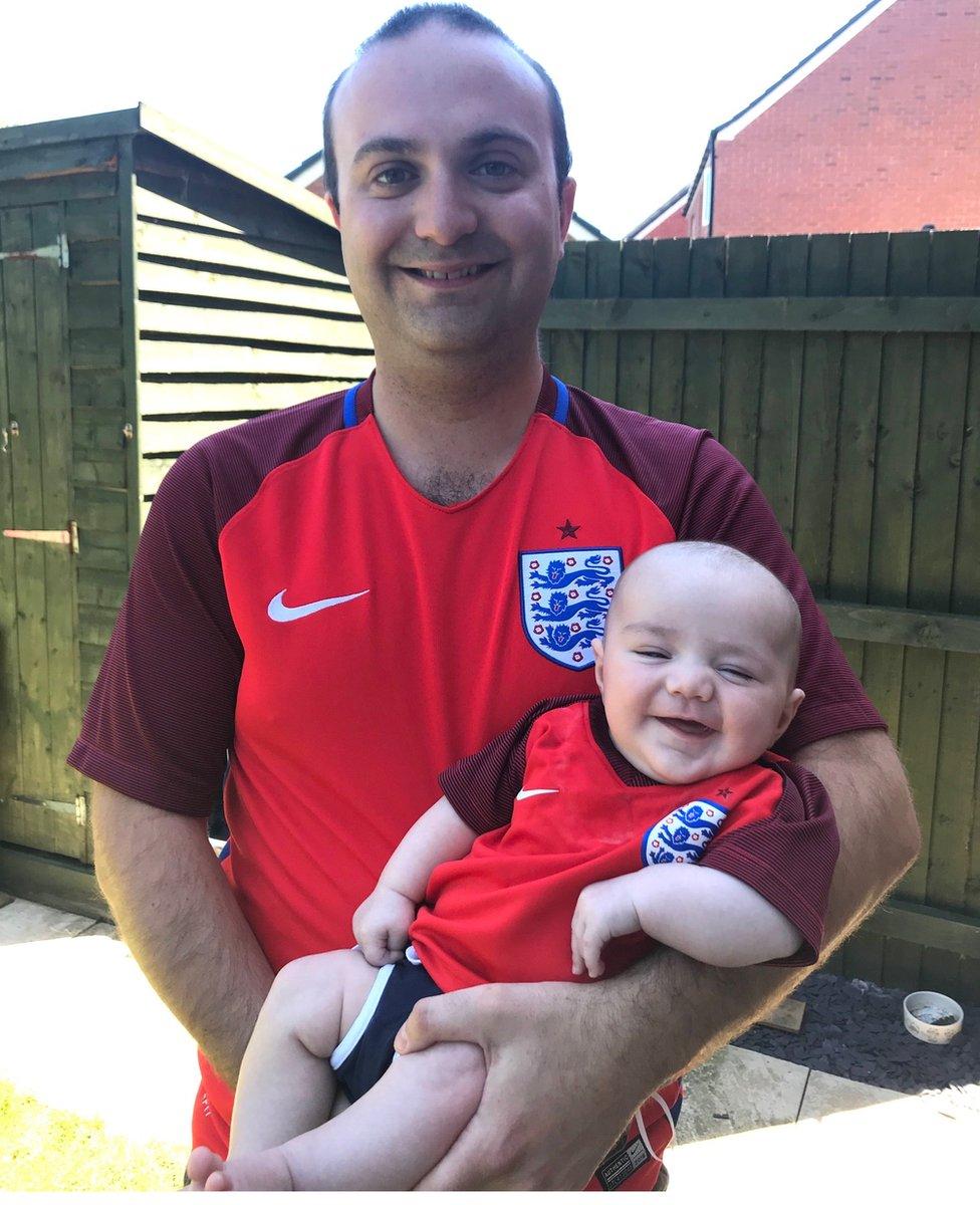 England fan Chris Weston and son Alexander