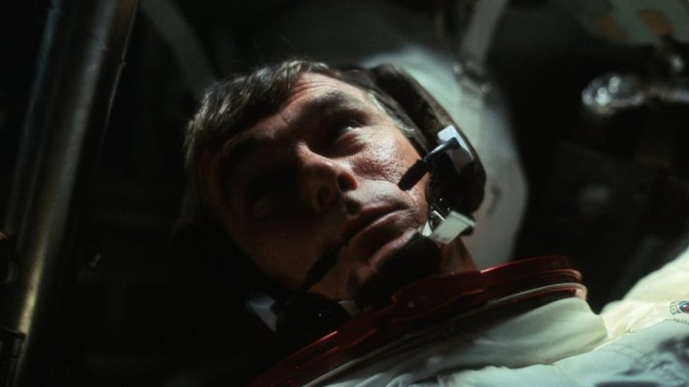 Gene Cernan in the Command Module during the outbound trip from the moon during the Apollo 17 mission. Photo: December 1972