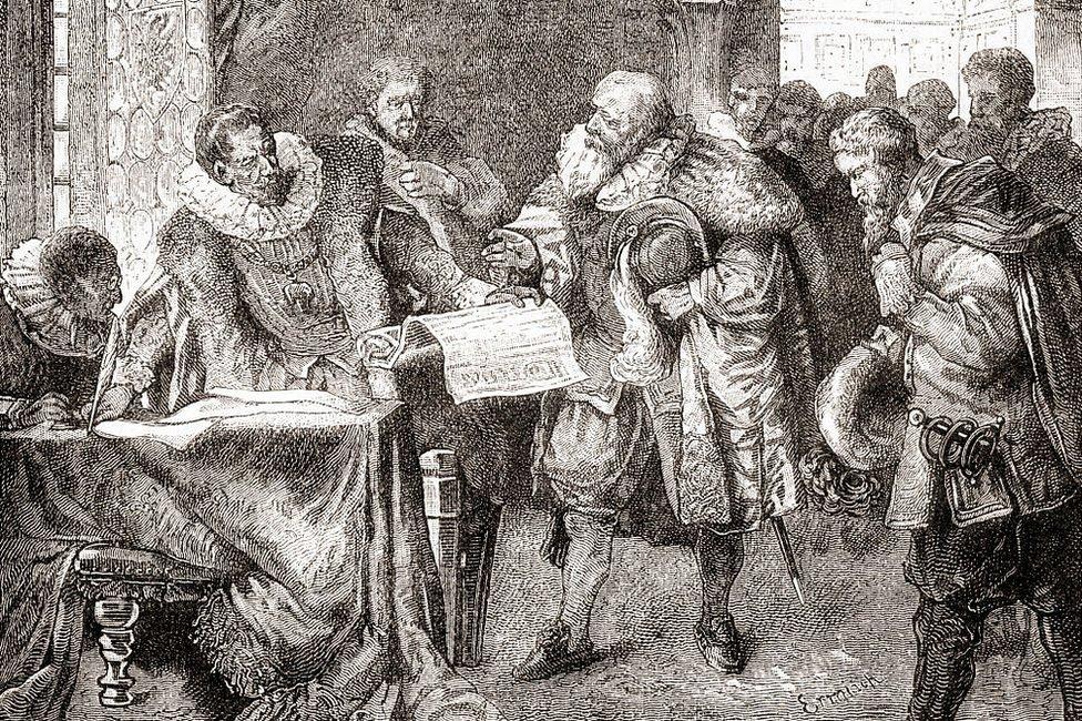 La firma de la Carta de Bohemia, también conocida como Carta de Majestad.