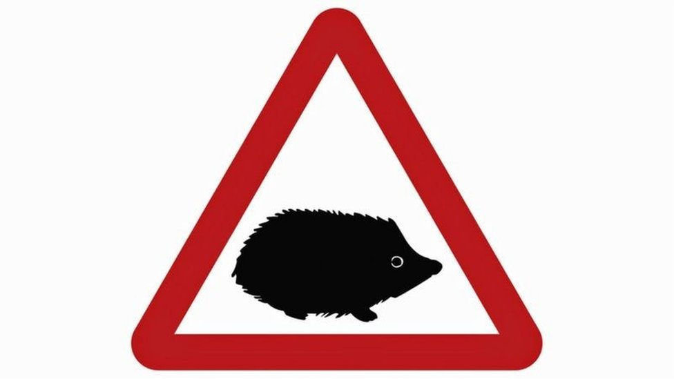 Hedgehog road sign