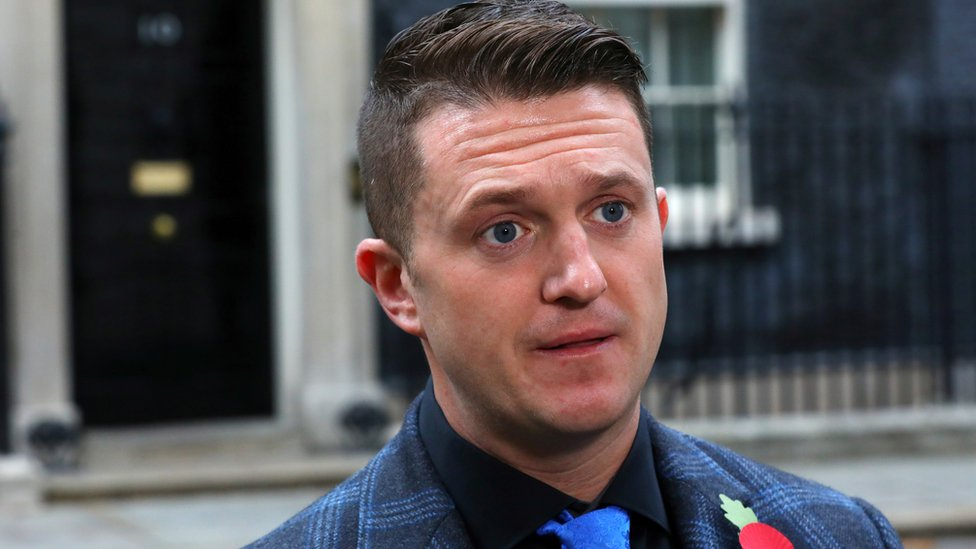 Tommy Robinson outside 10 Downing Street