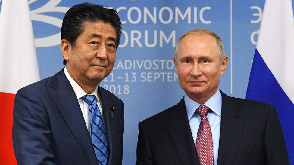 Vladimir Putin y el primer ministro japonés, Shinzo Abe