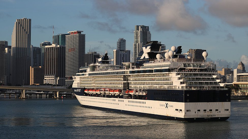 The Celebrity Infinity cruise ship returns to port in Miami
