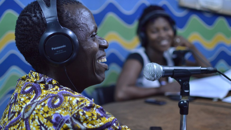 radio show in action, rural Burkina Faso
