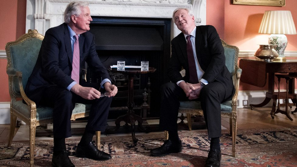 Michel Barnier and David Davis after their meeting in Downing Street
