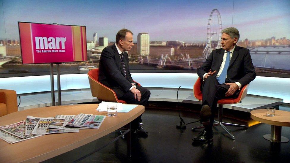 Philip Hammond speaking to the BBC