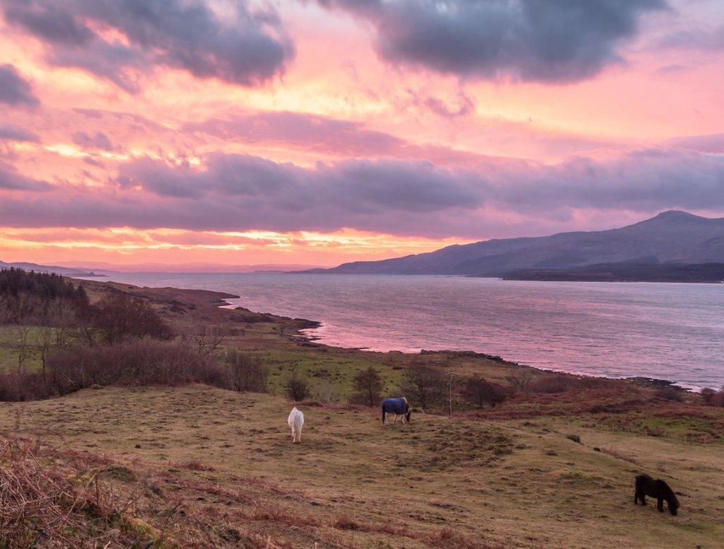 Dawn breaks over the Sound of Mull, Highland, Scotland.