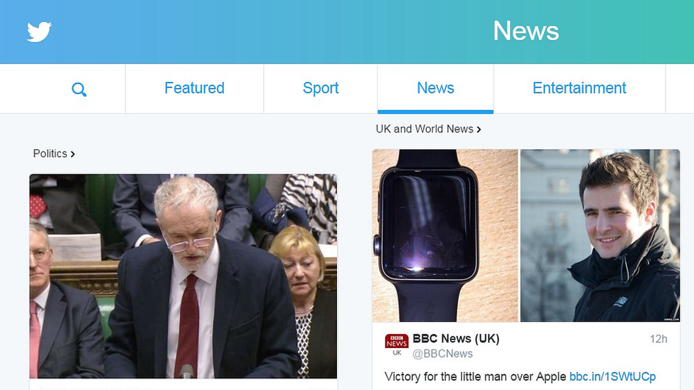 New Twitter homepage showing tweets from news organisations