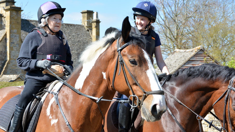 Mollie (L) and Matilda (R) riding