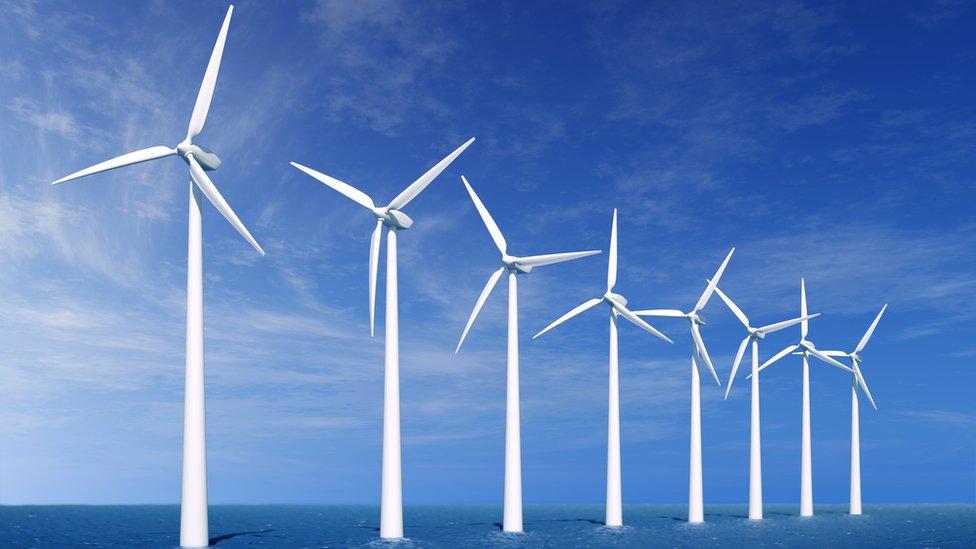 Wind turbines on the sea
