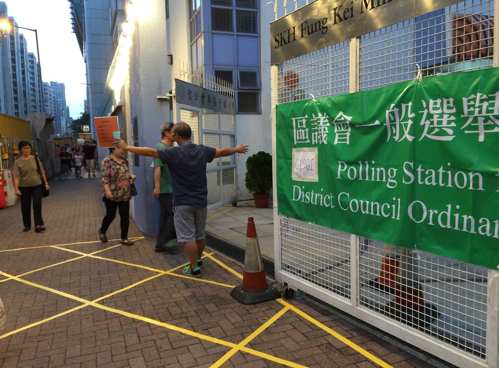 Picture of polling stations in Hong Kong on 22 November 2015