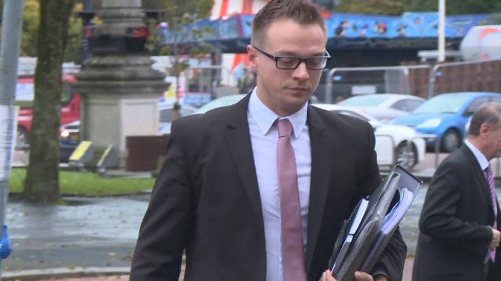 Matthew Scully-Hicks arriving at Cardiff Crown Court