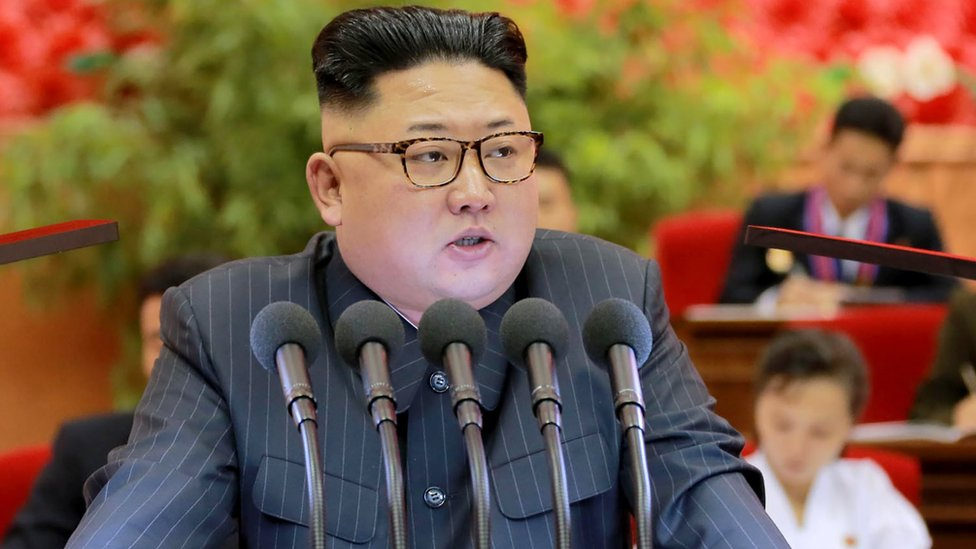 North Korean leader Kim Jong-Un delivers his speech during the 9th Congress of the Kim Il-Sung Socialist Youth League which was held in Pyongyang on 27 and 28 August