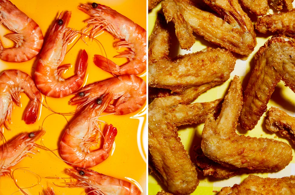Two images showing prawns and fried prawns