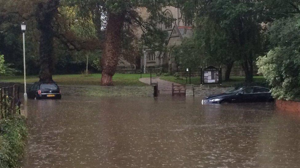 Cars stranded in flash floods in Colston Bassett, Nottinghamshire