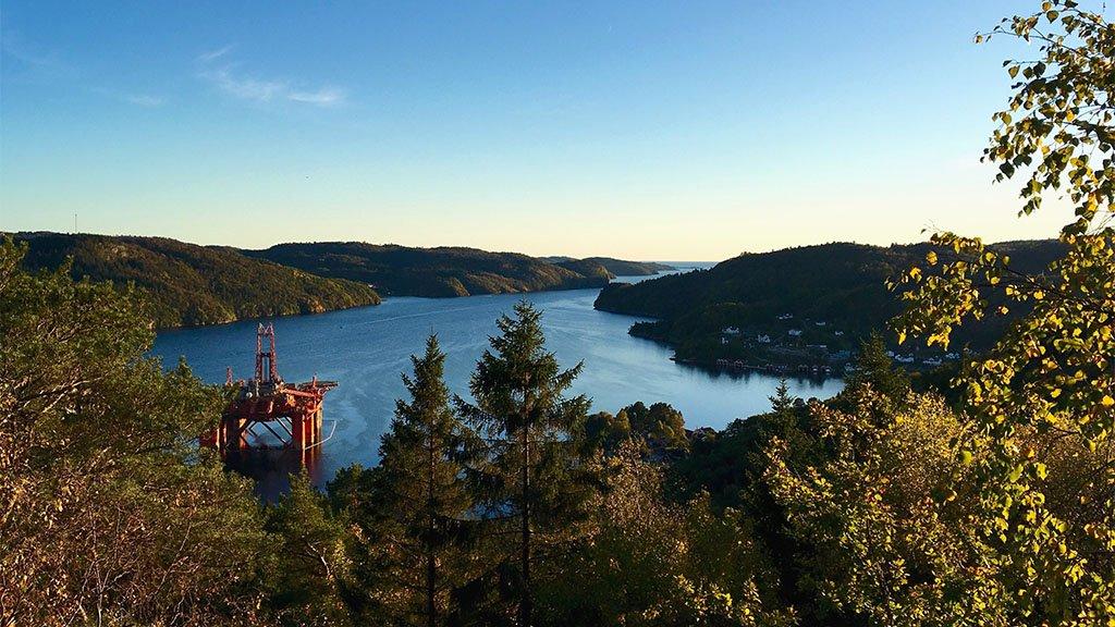 Oil rig in fjord