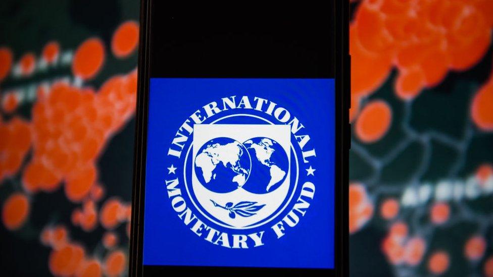 Logo del FMI frente a un mapa de casos de covid-19